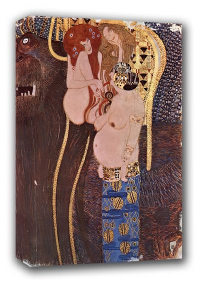 Klimt, Gustav: The Beethoven Frieze - The Longing for Happiness. Fine Art Canvas. Sizes: A3/A2/A1 (00644)